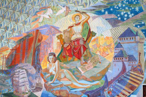 Oslo - Town Hall - Patron saint mural